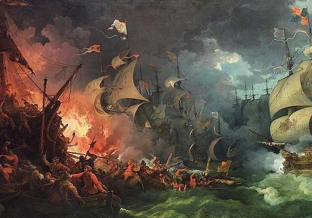 Derrota de la Gran Armada, pintura de Philippe-Jacques de Loutherbourg (1796)