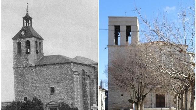 La iglesia, vista antigua y actual