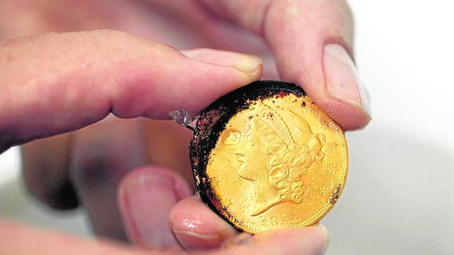 Una de las monedas pertenecientes a la Fraga de Nuestra Señora de las Mercedes, que devolvió Odyssey