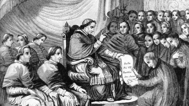 Grabado sobre la restauración de la Compañía de Jesús por el Papa Pio VII en 1814