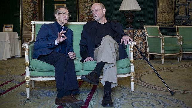 Gerard Mortier y Charles Wuorien durante un desayuno en el Teatro Real el año pasado