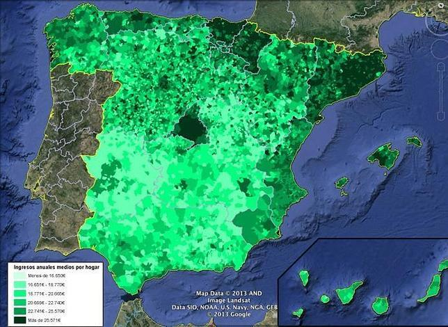 Este es el mapa de lo que ganan las familias españolas