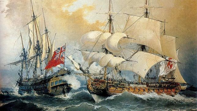 La bandera naval de la Casa Borbón hasta 1785. De la captura del «Stanhope» por Blas de Lezo, en la Guerra de Sucesión