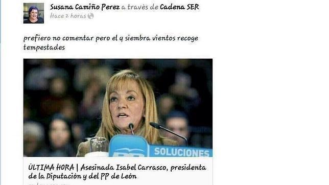 Captura del tuit de la concejal socialista de Villagarcía de Arosa (Pontevedra)Susana Camiño, que dejó el cargo