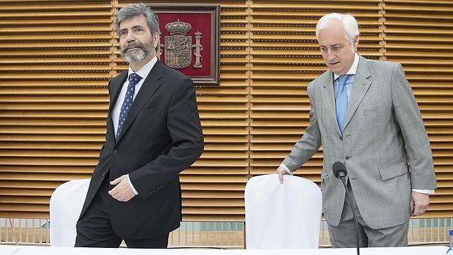 Carlos Lesmes y José Luis Concepción durante el acto esta mañana