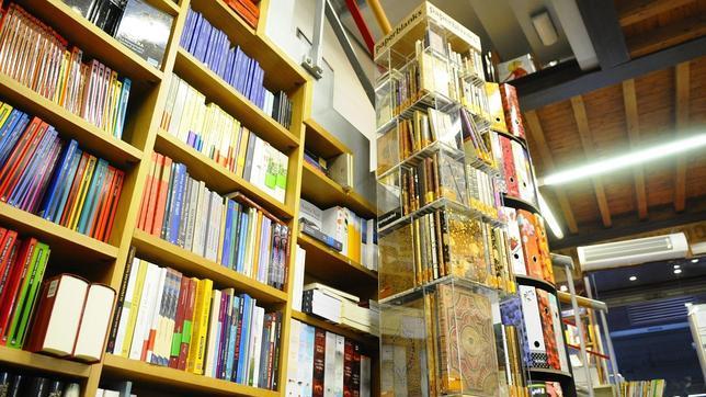 Libros de texto en la Librería Hojablanca, en Toledo