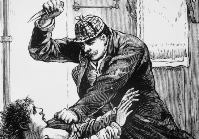 Dibujo de época que representa a Jack el Destripador en uno de sus asesinatos
