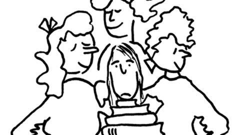 Detalle de una de las tiras cómicas de Flannery O'Connor, publicadas por Nórdica