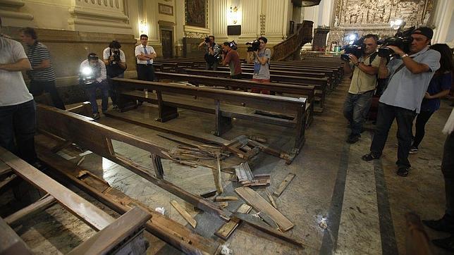 Estado en que quedó la zona de la Basílica en la que estalló la bomba
