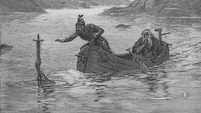 El rey Arturo y Merlín recogiendo la espada Excálibur, en una ilustración de 1880
