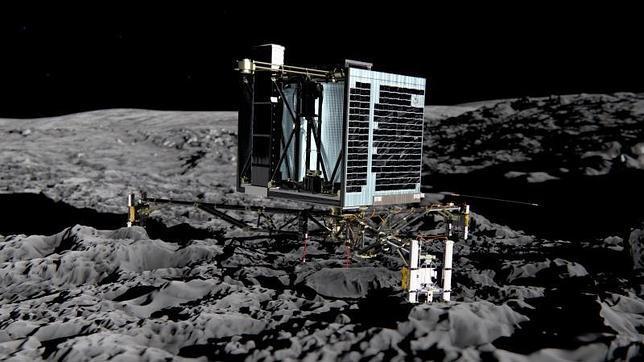 Recreación del módulo de onvestigación de Rosetta, posado sobre el cometa