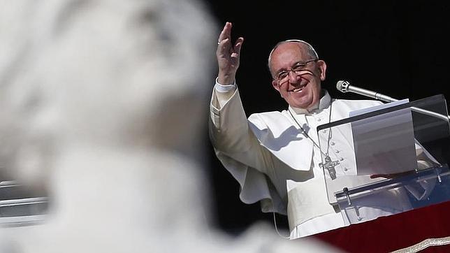 El Papa este miércoles durante el rezo del Ángelus