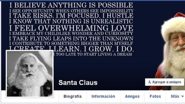 Perfil de Santa Claus en Facebook. Un documental sobre su existencia o el «avistamiento de dinosaurios», han motivado la medida