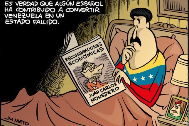 Viñeta de Nieto acerca de la vinculación de Juan Carlos Monedero con el régimen bolivariano venezolano, acerca del cual tiene dos preguntas en su examen a los universitarios