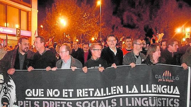 Imagen de Ximo Puig en una manifestación en defensa del catalán