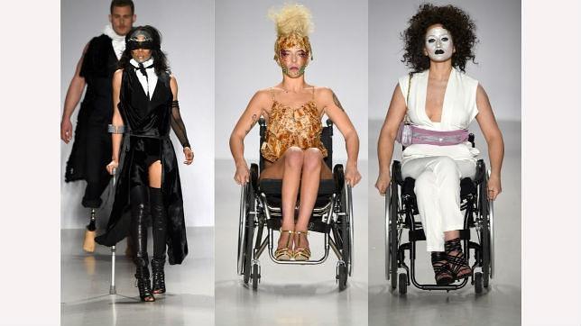 Los modelos con discapacidad durante el desfile de Antonio Urzi