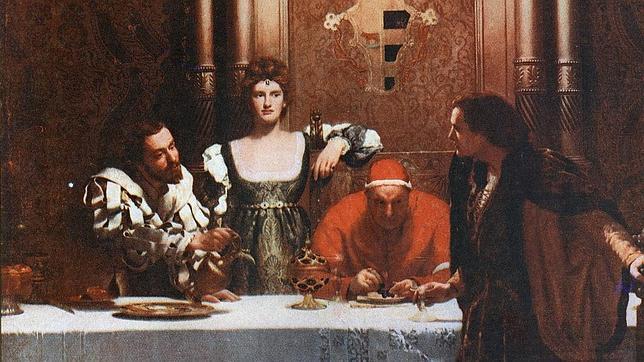 Cuadro «Un vaso de vino con César Borgia», de John Collier.