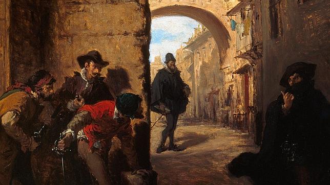 Óleo de Lorenzo Vallés que recrea la emboscada que los sicarios de Antonio Pérez hicieron a Juan de Escobedo