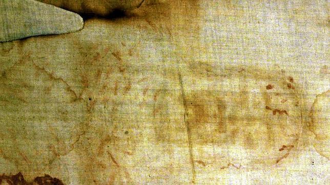Imagen parcial del Santo Sudario original que se custodia y venera en Turín