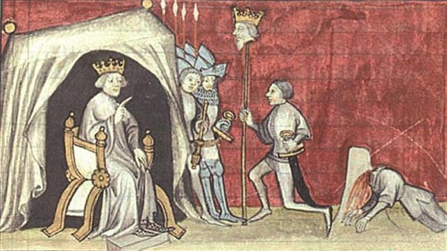 Ilustración medieval que muestra la cabeza del Rey Pedro I clavada en una pica