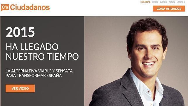 Imagen de la nueva web de Ciudadanos con el enlace en valenciano