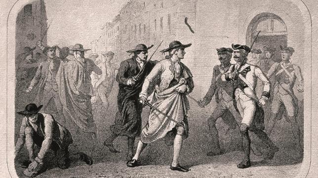 Grabado del Motín de Esquilache, acontecido en 1766