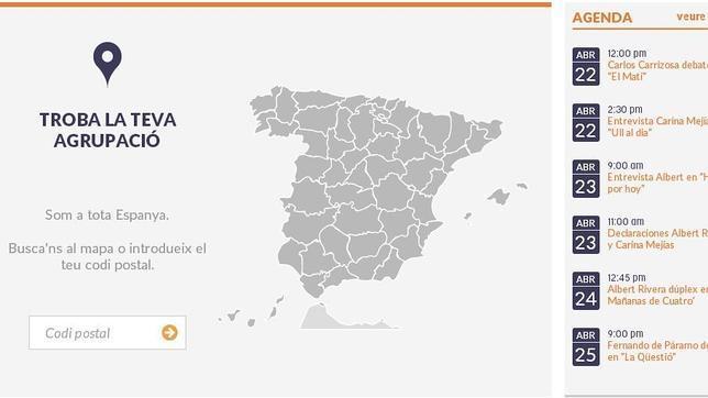 Imagen de la web en catalán de Ciudadanos