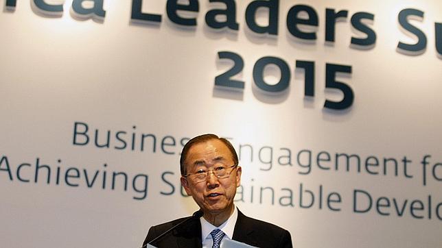 El secretario general de la ONU, Ban Ki-Moon, habla en Seúl