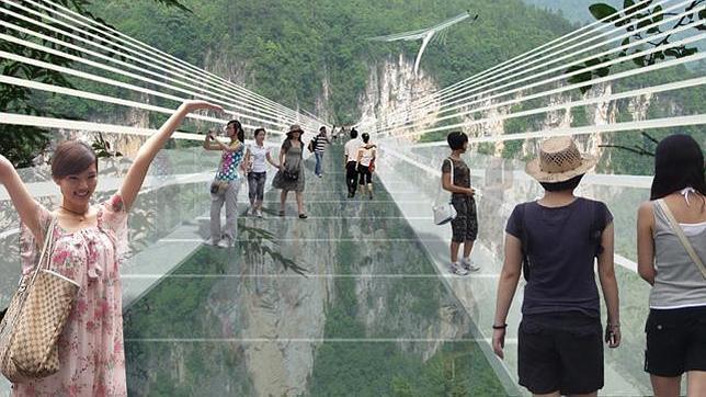 Una recreación de cómo quedará el puente de Zhangjiajie