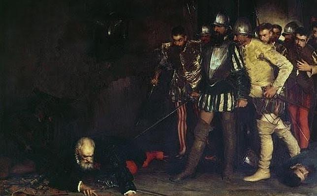 Francisco Pizarro trata de defenderse del ataque de los seguidores de Almagro