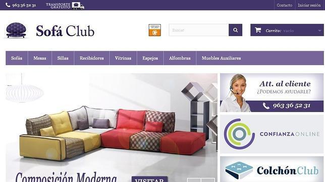 Captura de la página inicial de Sofá Club