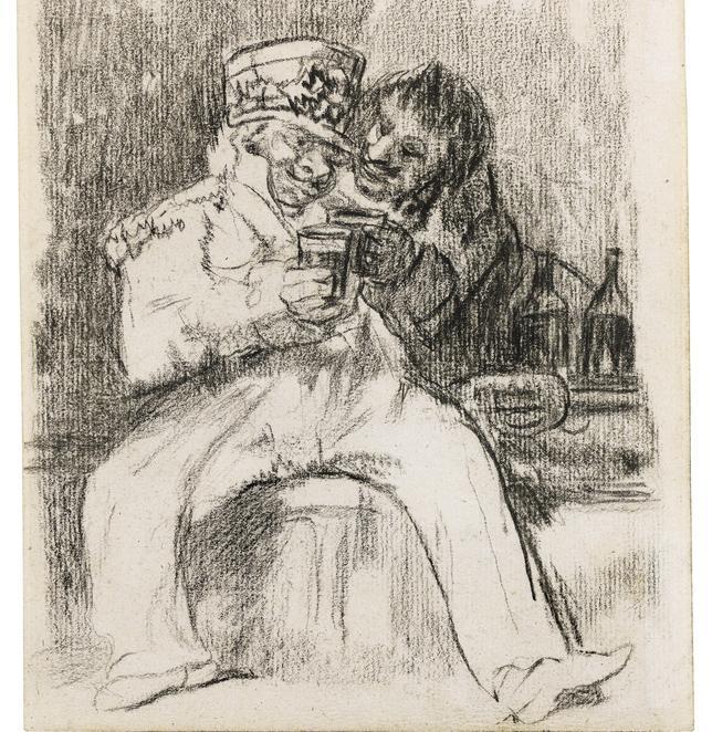 «Un soldado francés con un compañero de copas», dibujo de los últimos años de Goya