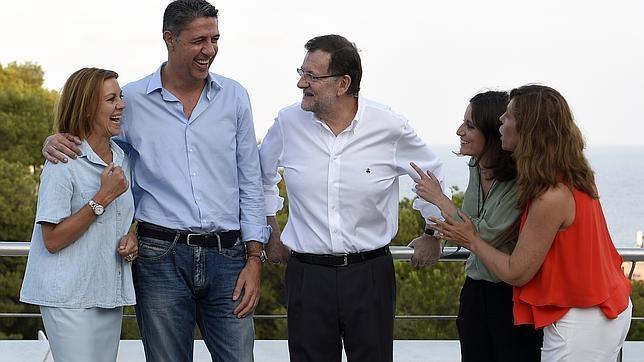 Cospedal, Albiol, Rajoy, Levy y Sánchez-Camacho en un acto en Cataluña