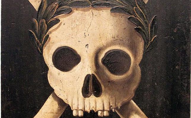 Panel de peste con el triunfo de la muerte que eran usados en el norte de Europa para advertir de la llegada de una epidemia