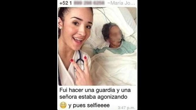 La joven estudiante de odontología, junto a la anciana en el polémico «selfie»