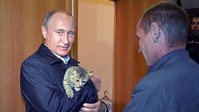 Vladimir Putin posa con un gato durante un acto en Siberia la pasada semana
