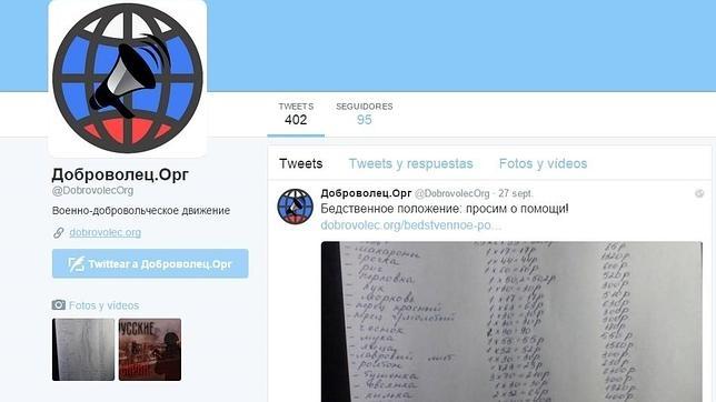 Perfil en la red social Twitter de la página web rusa que recluta voluntarios para Siria