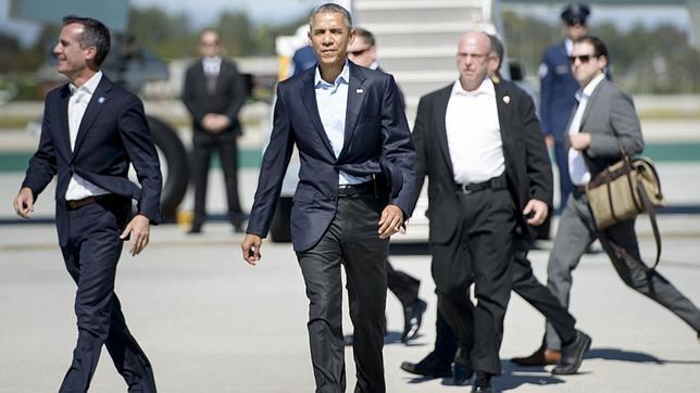 Barack Obama, a su llegada a Los Ángeles el pasado sábado
