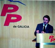 Aznar durante su intervención en el acto de proclamación de Fraga. Luis Cobas