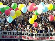La cabecera de la mnifestación de esta tarde en San Sebastián