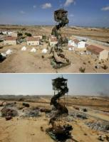 AP  Antes y después del paso de los bulldozer por la ex colonia de Morag