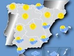 Mapa con las predicciones del tiempo para hoy. / Canal Meteo