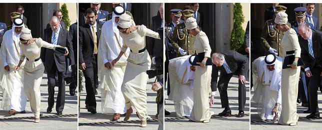 Despedida al Emir de Qatar y la jequesa con traspié incluido