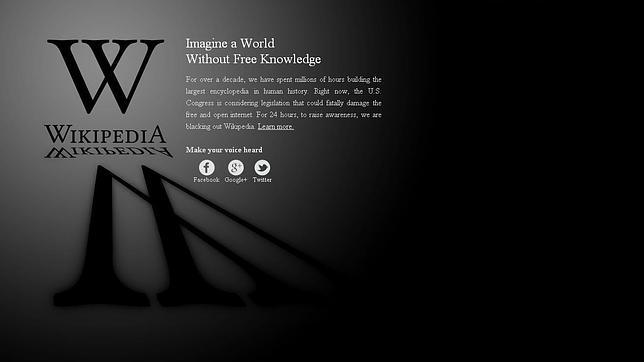Wikipedia lidera el «apagón» virtual contra la polémica ley antipiratería