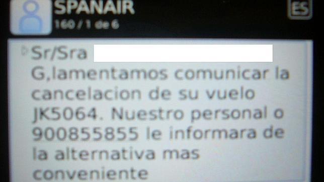 El SMS que manda Spanair