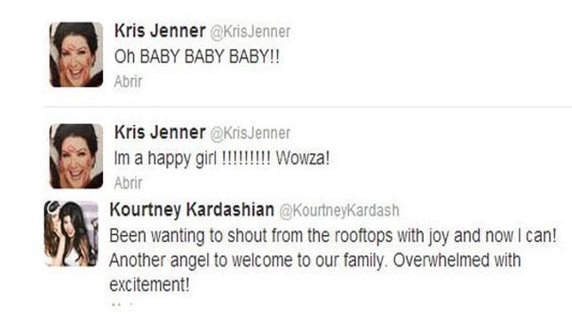 Los familiares de Kim Kardashian confirman su embarazo en Twitter