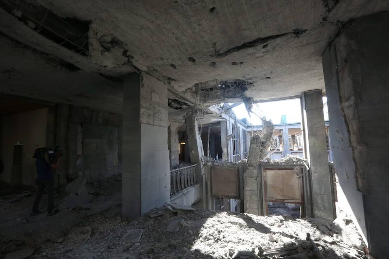Así ha quedado el Parlamento o Asamblea (Ankara) tras el bombardeo de los golpistas