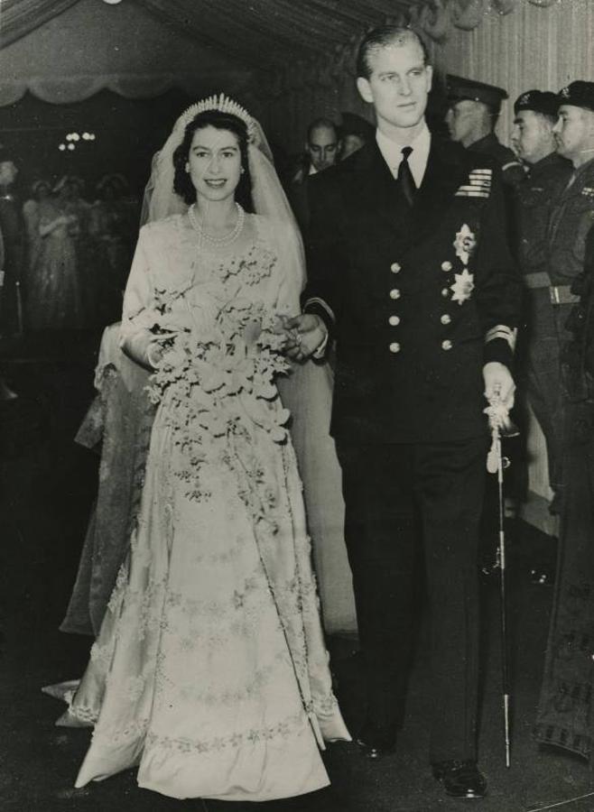 Los recién casados después de la ceremonia celebrada en la Abadía de Westminster
