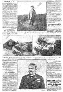 Página en la que se muestra la fotografía de los cadáveres de los asesinos del Rey Carlos I y su hijo, en 1918
