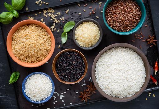 Tipos de arroz: integral, negro, rojo, basmati, salvaje y redondo.